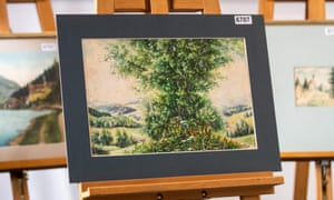 A watercolour attributed to Adolf Hitler on display ahead of auction in Nuremberg.