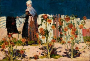 Peasant woman with sunflowers, by John Russell