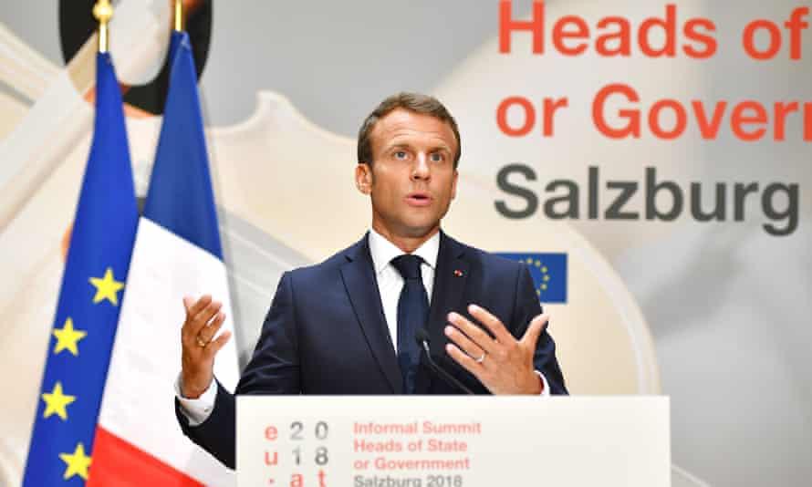 President Emmanuel Macron at the EU informal summit in Salzburg, Austria.