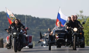 Vladimir Putin rides with the Night Wolves in Sevastopol.
