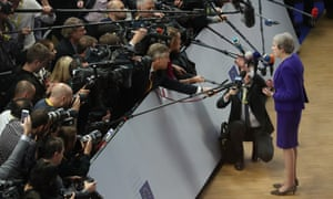 Theresa May speaking to journalists as she arrived at the EU summit this morning.