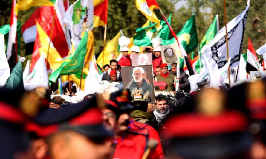 The funeral ceremony in Baghdad for Iranian general Qassem Soleimani, who was killed by US strike near Baghdad International Airport.