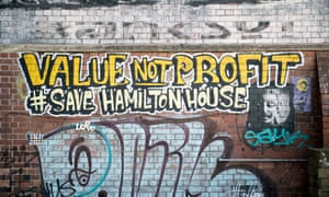 Graffiti protesting about the plans for Hamilton House.