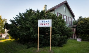 A Trump and Pence election sign outside a house near downtown Muncie
