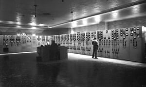 Control Room at the K-25 plant, Oak Ridge, 1945. Sophisticated equipment was used to monitor and control the potentially hazardous industrial processes at the K-25 plant and other Manhattan Project facilities.