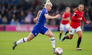Beth England on the ball for Chelsea against Manchester United. The forward has nine goals this season after finishing joint-third top scorer last season.