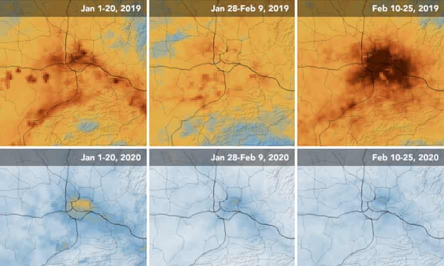 Nasa maps showing NO2 values over Wuhan during January and February