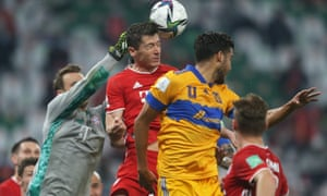 Manuel Neuer survives a Tigres corner.