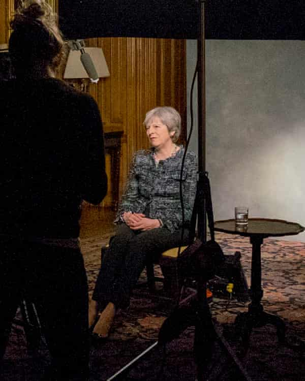 PM and former home secretary Theresa May, being filmed for the documentary.