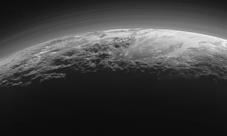 A view of Pluto's rugged, icy mountains and flat ice plains captured by Nasa's New Horizon's spacecraft