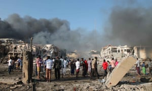The explosion site in Mogadishu.