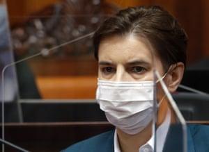 Serbia's prime minister, Ana Brnabić, attends parliament in Belgrade