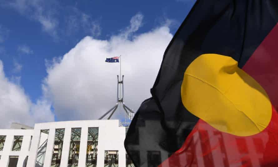 Aboriginal flag flies near Parliament House.