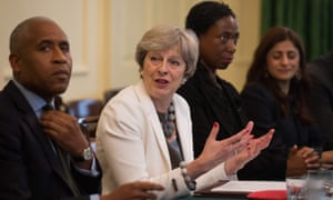Theresa May hosts a discussion in the Cabinet Office inside 10 Downing Street on 10 October 2017, following the publication of the government's Race Disparity Audit.