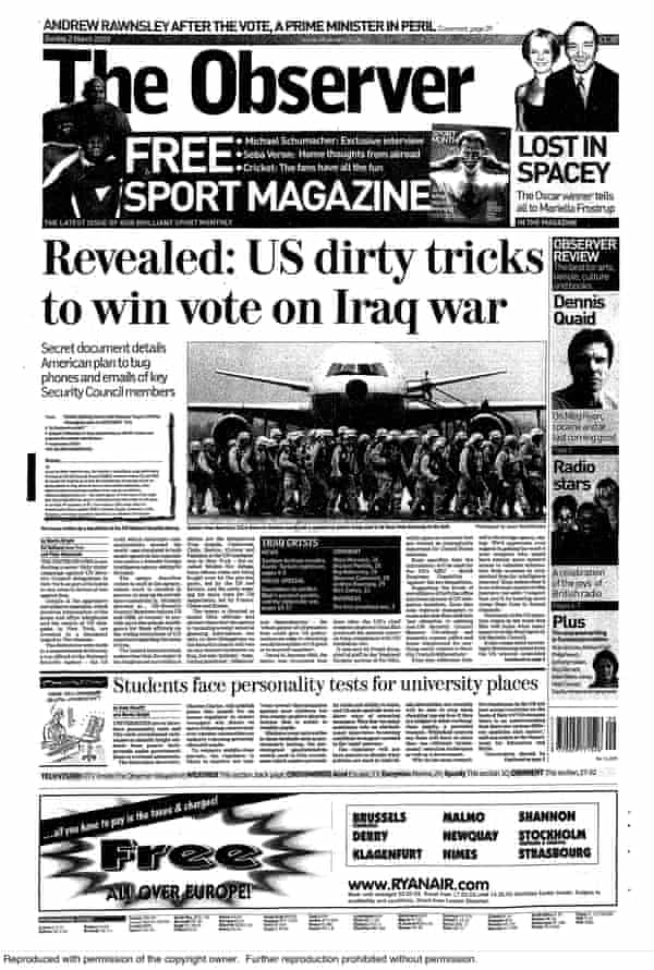 The Observer's front page story on 2 March 2003.