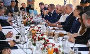 Netanyahu speaks during the cabinet meeting held in the Jordan Valley