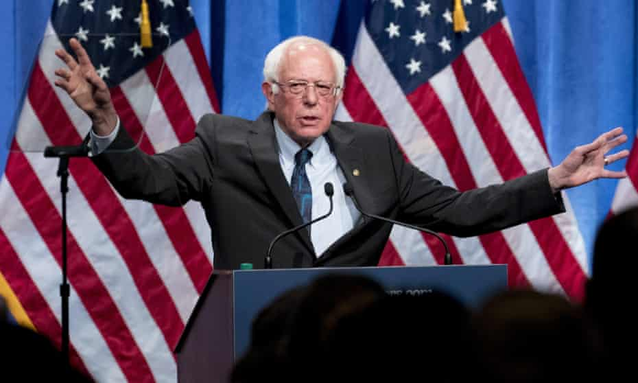 Democratic presidential candidate Senator Bernie Sanders speaks at George Washington University on 12 June on his policy of democratic socialism.