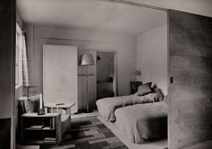 Twin beds in the modernist Lawn Road Flats in Hampstead, London.