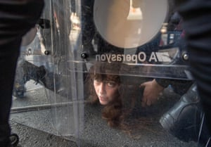 Police detain a demonstrator during a May Day rally marking the international day of the worker in Istanbul