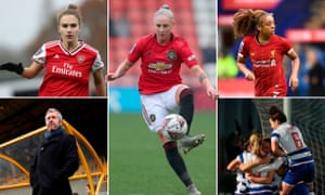 Clockwise from top left: Vivianne Miedema of Arsenal, Manchester United's Leah Galton, Jess Clarke of Liverpool, Reading celebrate and Everton manager Willie Kirk.
