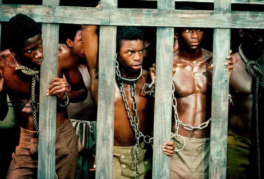 LeVar Burton (centre) in the 1977 series Roots. Burton played Kunta Kinte, the West African youth kidnapped into slavery and shipped to America, through to his emancipation after the civil war.