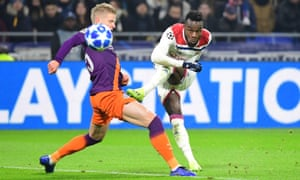 Maxwel Cornet of Lyon puts his side 1-0 with a classy curled finish.