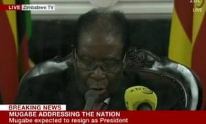 Robert Mugabe addresses the nation after talks with ZANU PF officials.