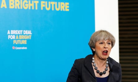 Theresa May speaks at an election campaign event