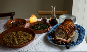 Rachel Roddy's festive feast: 'Porchetta isn't traditional in Italy at Christmas, but it's straightforward to make, celebratory and generous.'