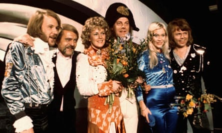 ABBA and close associates celebrate the victory of their song Waterloo in the Eurovision Song Contest in Brighton, England, 1974