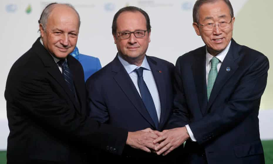 President François Hollande of France, centre, and his foreign affairs minister Laurent Fabius, left, welcome United Nations secretary general Ban Ki-moon as he arrives for COP21, near Paris.