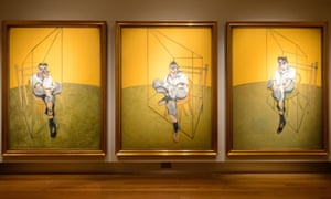Three Studies of Lucian Freud displayed at Christie's, London.