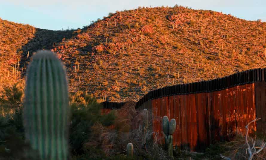 The United States-Mexico border wall is seen in Organ Pipe National Park south of Ajo, Arizona, in February.