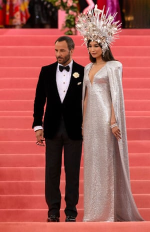 Dress rehearsal: with Tom Ford celebrating the opening of Camp: Notes on Fashion, Arrivals at the Metropolitan Museum of Art, New York, in May 2019.