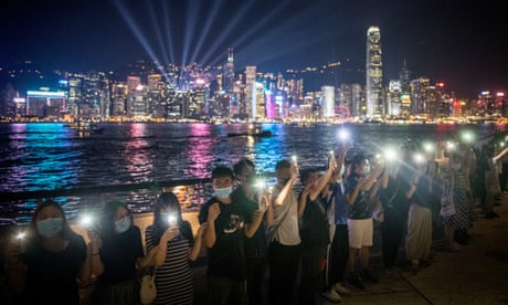 Hong Kong protesters form 30-mile human chain across city – video