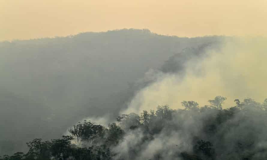 Smoke from bushfires filling the sky