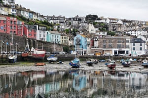 Brixham harbour. I was captivated by the colourful houses surrounding it – and their reflection in the water. They were such a bright contrast to the dreary day.