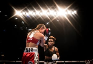 Nicola Adams (right) in action against Maryan Salazar during their International Flyweight bout at the First Direct Arena, Leeds.