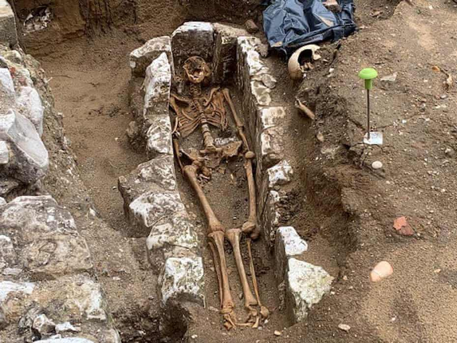 The skeleton of monk discovered at Westminster Abbey, London.