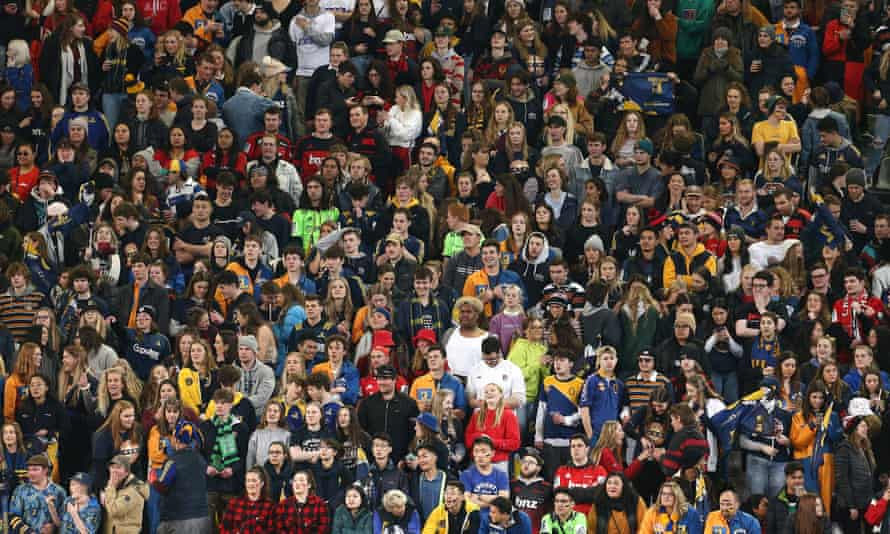 Rugby fans at the Forsyth Barr Stadium in Dunedin, New Zealand.