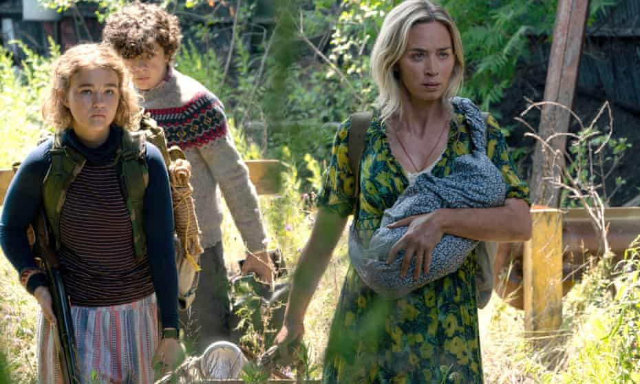 Millicent Simmonds, Noah Jupe and Emily Blunt in A Quiet Place Part II.