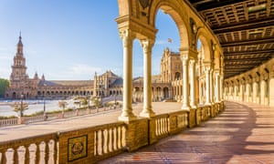 A view across the colonnaded Plaza de Espana in Seville.