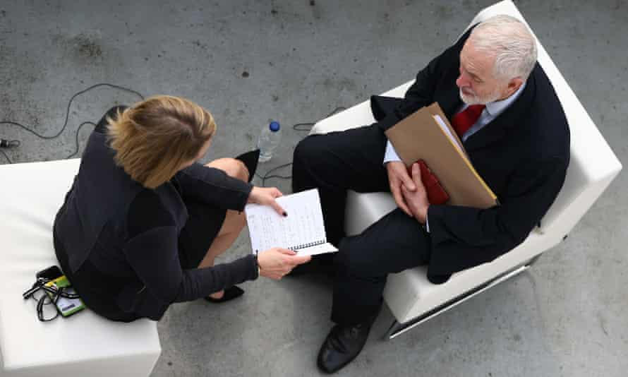 Jeremy Corbyn being interviewed by Laura Kuenssberg