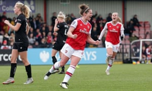 Emma Mitchell celebrates after scoring for Arsenal against Bristol City in December.