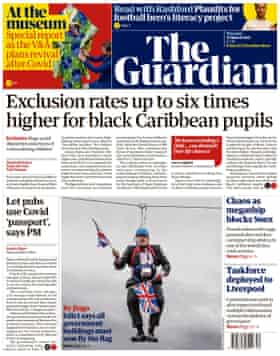 Guardian front page, Thursday 25 March 2021