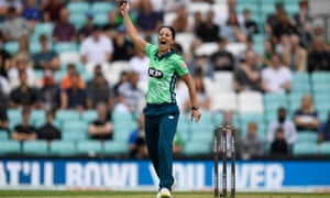 Marizanne Kapp of Oval Invincibles celebrates taking the wicket of Katie Mack