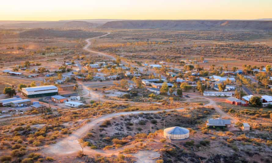 An aerial view of houses near Alice Springs