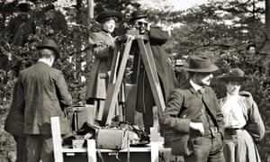 Alice Guy-Blaché (behind camera tripod) on the set of The Life of Christ in Fontainebleau, France, in 1906.