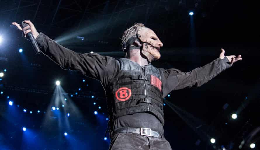 Corey Taylor on stage with Slipknot.