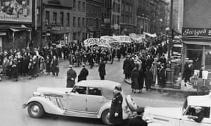Unemployment protest in New York in 1937.